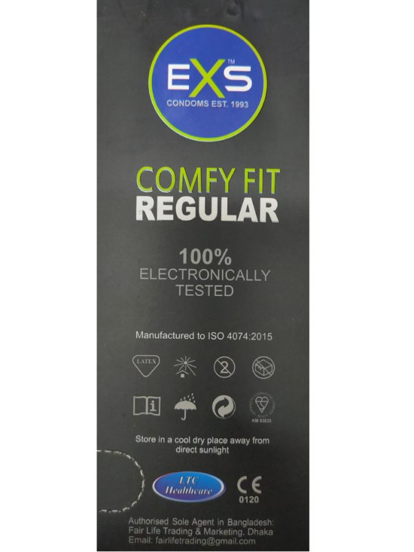 EXS Glowing Comdom. Made in UK. Quantity: 10*3= 30 Pcs EXS COMFY FIT REGULAR CONDOM